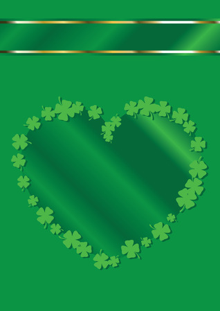 St. Patricks Day Heart Shape Border Background Vector