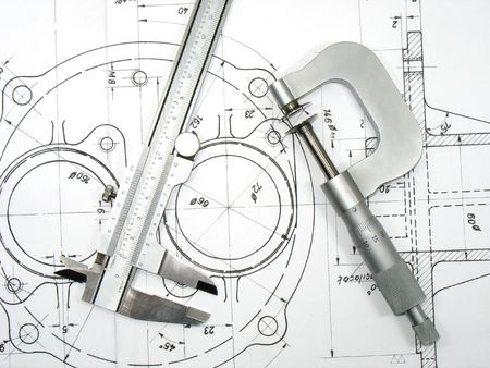 mechanical: Dikte en micrometer op technische tekeningen. Technische hulp middelen op technische tekeningen reeks Stockfoto