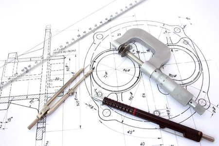 micrometer: Micrometer, compass, ruler and pencil on blueprint. Stock Photo