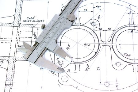 Caliper on Blueprint. Horizontal. Shallow Depth of Field.