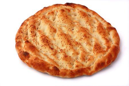 Pitta isolated on white background. Popular food in Ramadan.