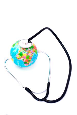 Listening earth with stethoscope isolated on white background Stock Photo - 6244643