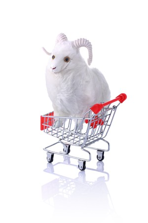sacrifices: Model ram in shopping cart isolated on white.  Shopping for the Feast of Sacrifice Series  Stock Photo