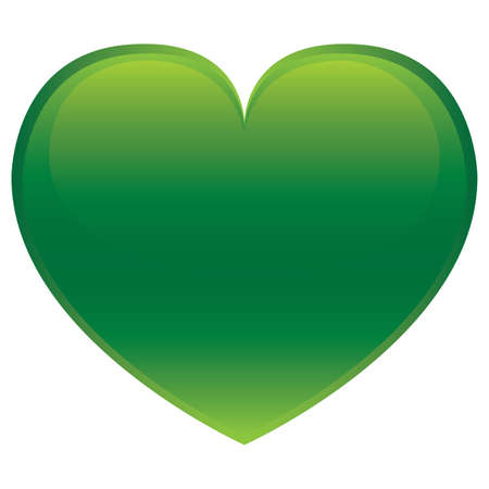 st valentin: Green glossy heart isolated on white background
