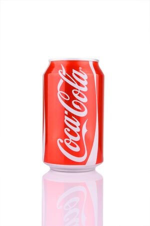 Kocaeli, Turkey - August 5, 2012: A can of Coca Cola isolated on white background with clipping path