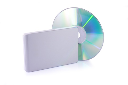 recordable media: External hard disk and dvd isolated on white background  Including clipping path