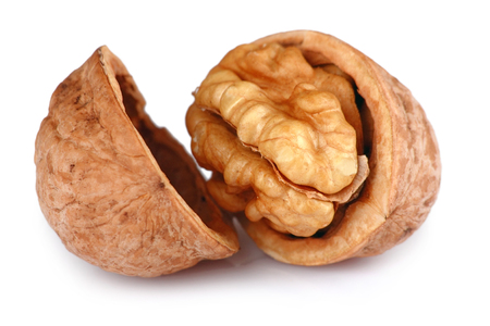 walnut: Single Cracked Walnut isolated on white background