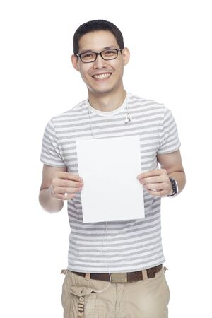 asian man with white banner photo