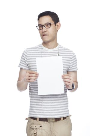 sexy asian man with white banner photo
