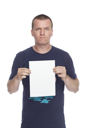 holding blank sign: angry guy with blank white paper poster