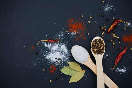 塩・ コショウ木のスプーン。月桂樹の葉、唐辛子を飾る。暗い背景。クローズ アップ。選択と集中