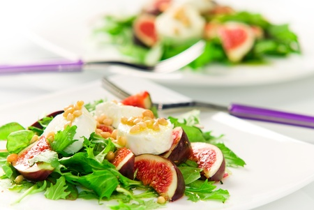 Salad with fresh figs and cheese Stock Photo