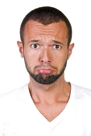 Portrait of sad unhappy bored man Stock Photo - 12379296