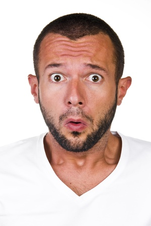 Shocked and Scared man on a white background Stock Photo