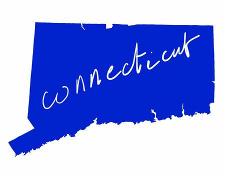Connecticut map colored flag vector illustration of the country and its islandsAn illustrated map silhouette