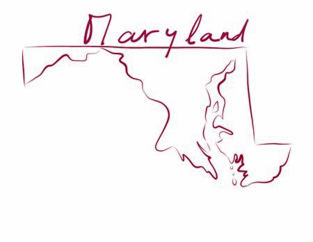 Maryland map colored flag vector illustration of the country and its islandsAn illustrated map silhouette