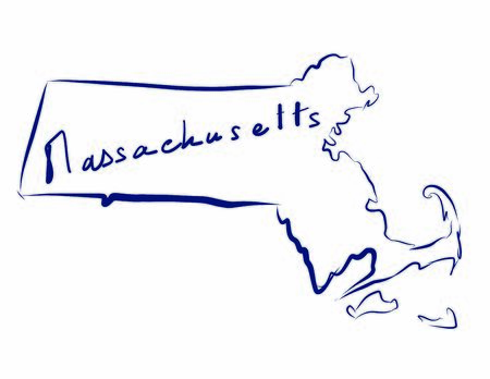 Massachusetts map colored vector illustration of the country and its islands An illustrated map silhouette