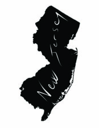 New Jersey map black vector illustration of the country and its islands An illustrated map silhouette Illusztráció