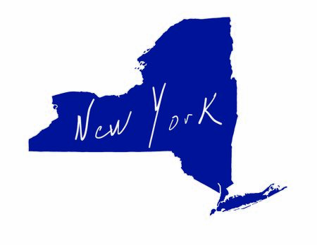 New York map blue colored vector illustration of the country and its islands An illustrated map silhouette