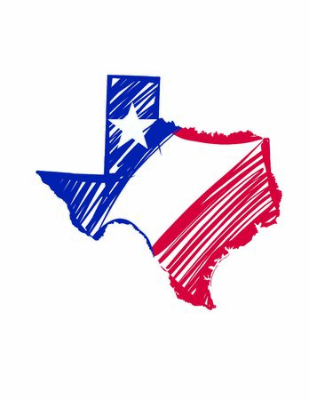 Texas map colored flag vector illustration of the country and its islands An illustrated map silhouette