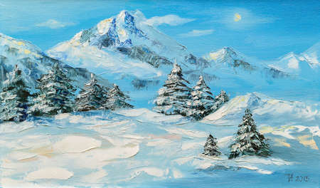 Origineel olieverfschilderij, winter berglandschap met sparren Stockfoto