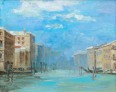 Original oil painting, Venice canal on a sunny day