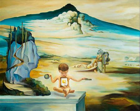 origineel olieverfschilderij gebaseerd op Salvador Dali