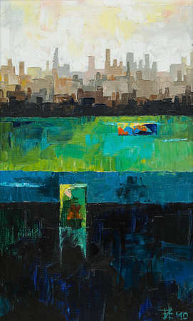 Original oil painting, abstract city by the ocean
