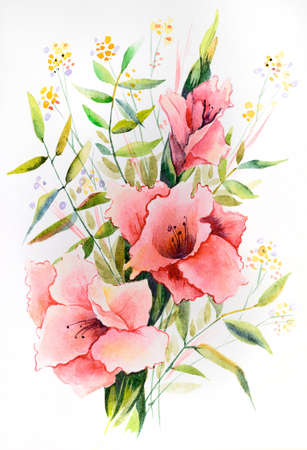 Original watercolor - a bouquet of pink gladiolus with different branches of leaves. Standard-Bild - 111614086