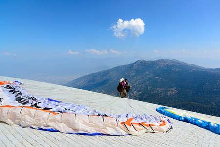 Turkey, Oludeniz, Babadag Mountain, July 30, 2018, paragliding flights Editorial