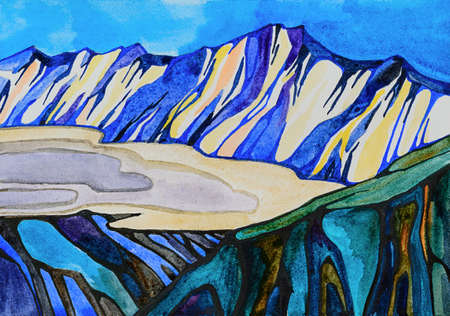 Watercolor hand drawn illustration of winter mountains landscape in the clouds. Bright graphics of the strip, in the foreground a dark mountain, behind a light, all in blue