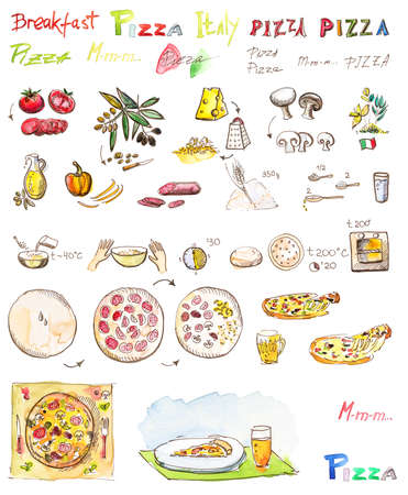 Set of drawings of ingredients: olives, tomatoes, cheese, mushrooms, dough, flour, for making pizza recipe: plate, mixing, slicing, watercolor and pen handmade on a white background