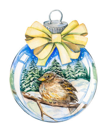 Christmas tree toy ball with a yellow bow, inside a winter landscape. Handmade watercolor on white background. Inside there are Christmas trees, drifts of snow, a blue sky, a sparrow bird on a branch.