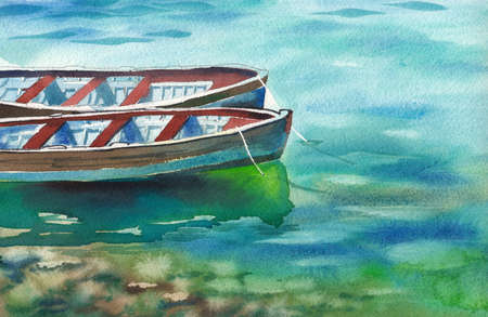 Watercolor landscape two boats on the water. Empty, with an anchor rope, reflected in the water, the stones at the bottom shine through. Summer day.