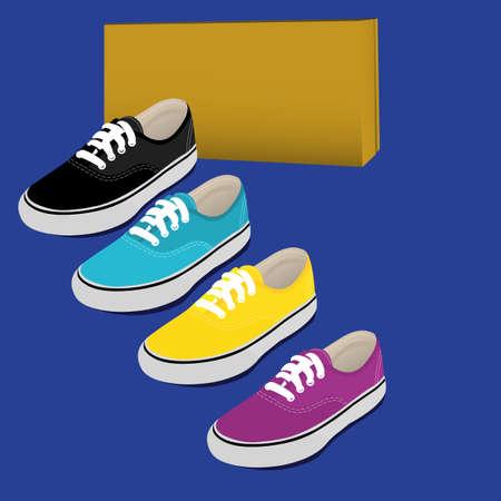 shoe box: shoes several colors Illustration