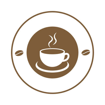 Coffee cup logo template. vector illustration, isolated on white backgrund