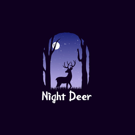 Night landscape in forest with deer. deer at midnight. Wildlife and panorama.