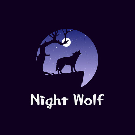 Night landscape in forest with wolf on rock. Wild dog howling in front of moon. Coyote at midnight. Wildlife and panorama.