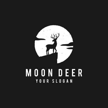 Deer on the full moon background in grunge style.