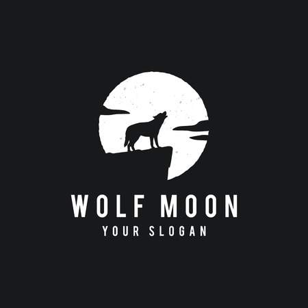 Wolf on the full moon background in grunge style.