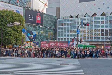 Shibuya, Tokyo, Japan - December 8, 2018: People waiting to cross the street at Shibuya crossing in Tokyo, Japan.