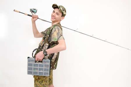 fishingpole: Happy teenager go fishing isolated on white background Stock Photo