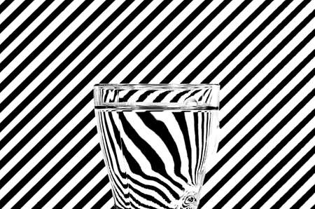 diagonals: Refraction of black and white diagonals in a glass of water
