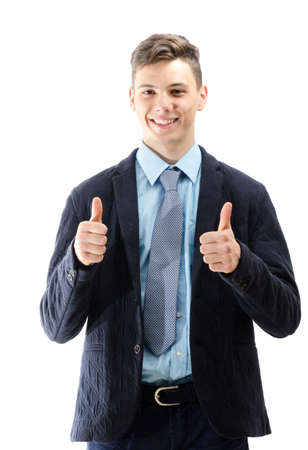 signaling: Happy teenager signaling OK with his hands isolated on white