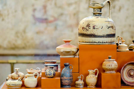 antiquity: Set of painted clay vases from antiquity exposed in museum