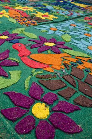 Antigua, Guatemala - Good Friday carpet Foto de archivo