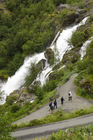 Norway - Hellesylt - Waterfall and village - Europe travel destination photo