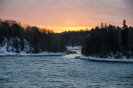 Sunrise and winter landscape in Finland - Nature - Northern Europe photo