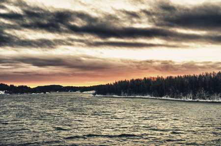 Sunrise and dramatic winter landscape in Finland - Nature - Northern Europe - HDR photo
