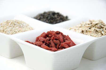 Goji, green tea, oat bran